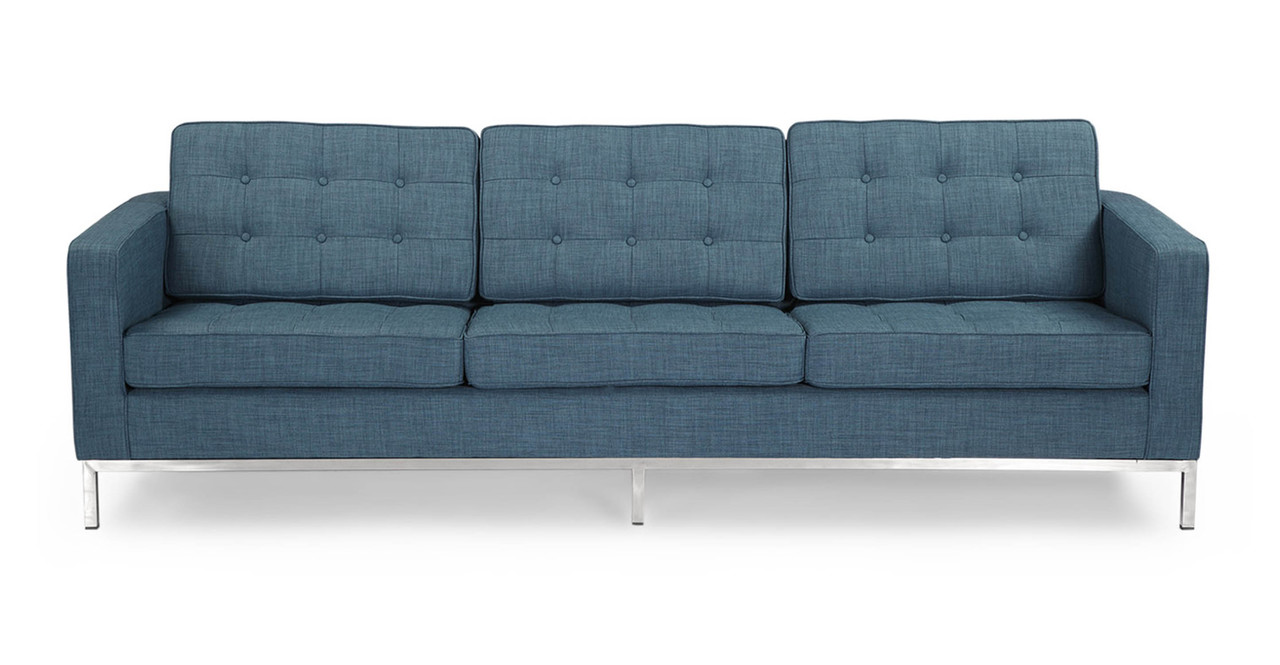 Florence Knoll Style Sofa 3 Seat Blue Curacao Vintage Tailored Twill Ebay