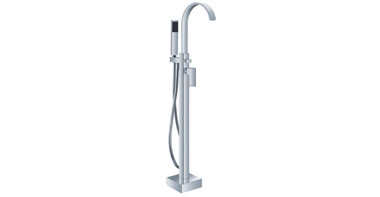 HelixBath Snoqualmie Gooseneck Freestanding Tub Faucet Chrome W Hand Shower