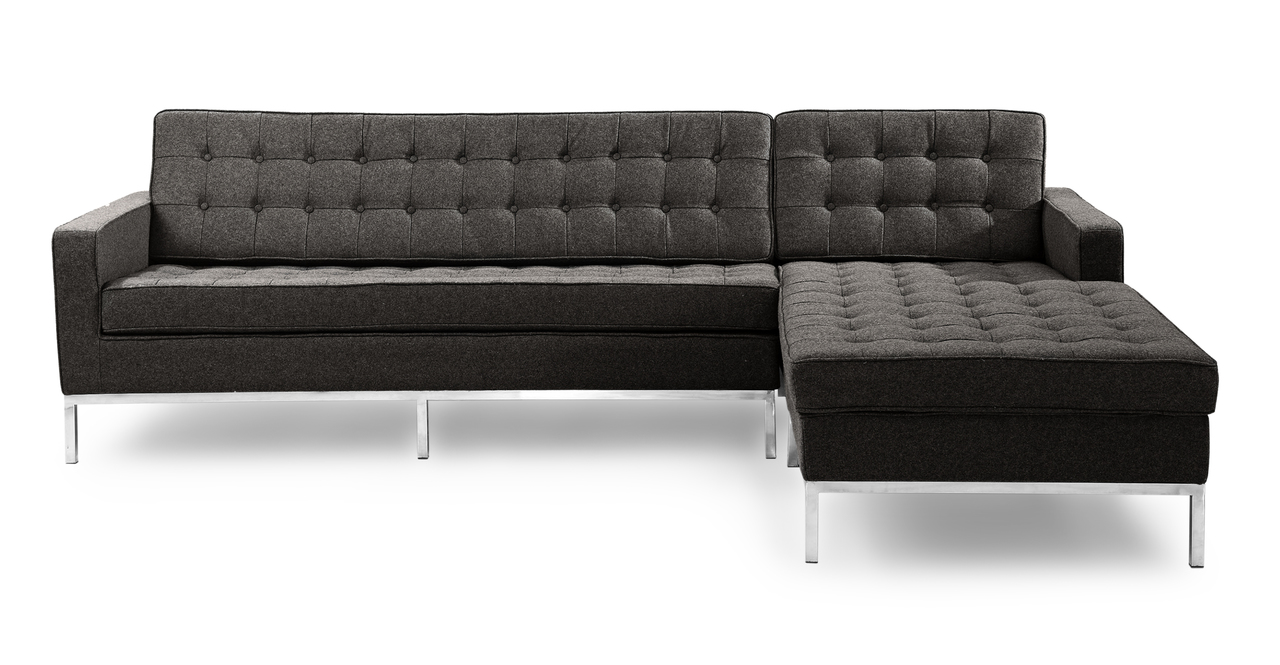 Florence Knoll Style Sofa Sectional Right Charcoal Cashmere Wool EBay
