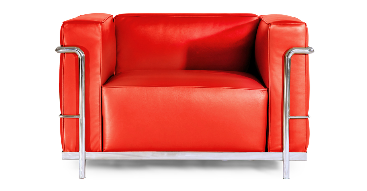 Le Corbusier Style LC3 Chair Red Aniline Leather