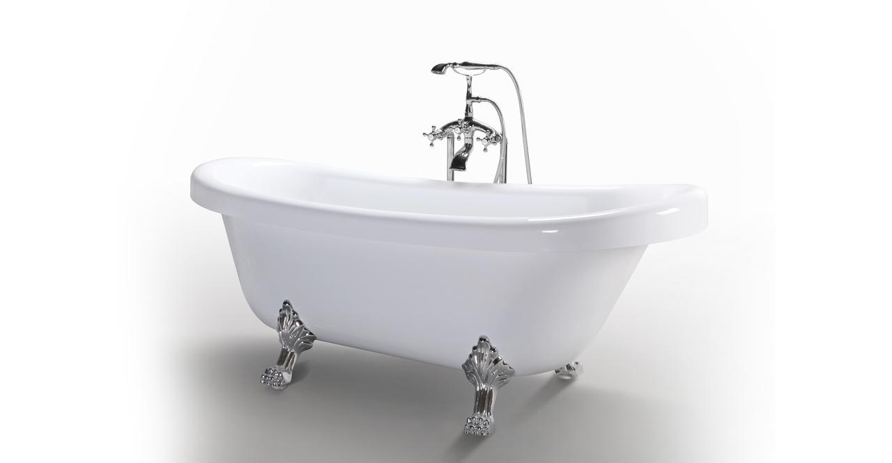 Helixbath delos freestanding acrylic clawfoot bathtub 67 for Soaker tub definition