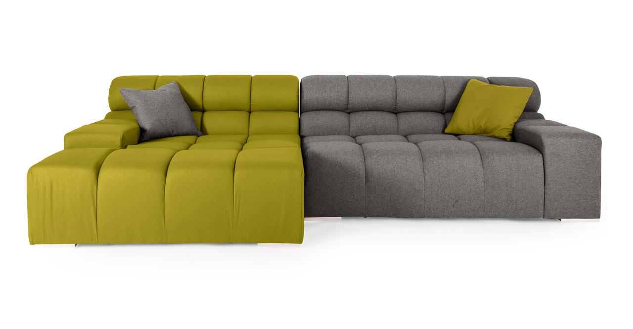 Cubix Modern Modular Sofa Sectional Left, Deco Moss/Cadet...