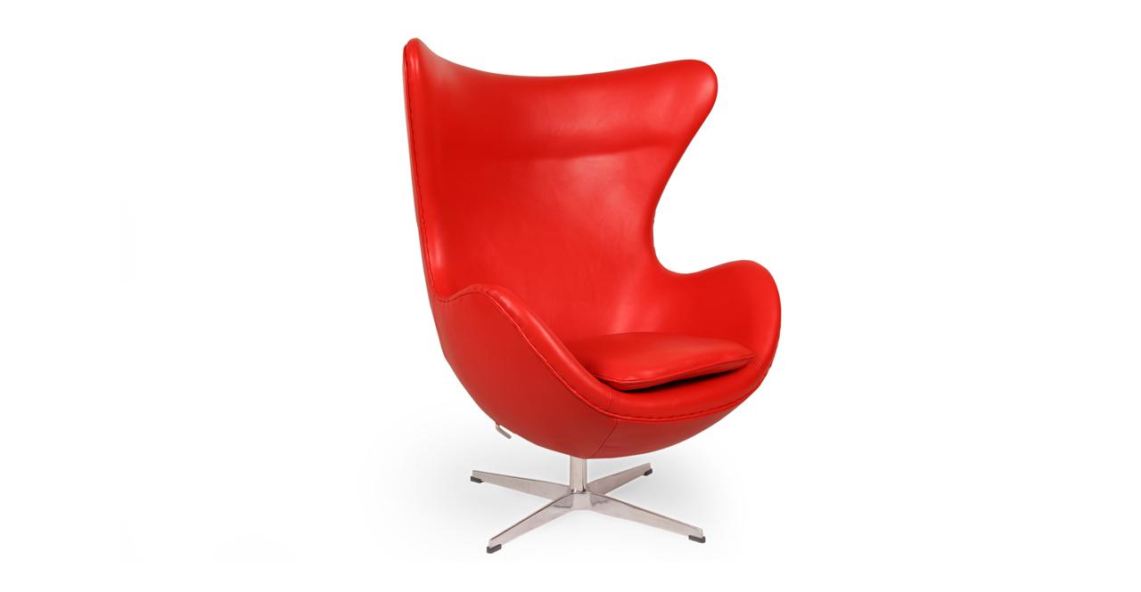 egg chair red aniline leather ebay. Black Bedroom Furniture Sets. Home Design Ideas