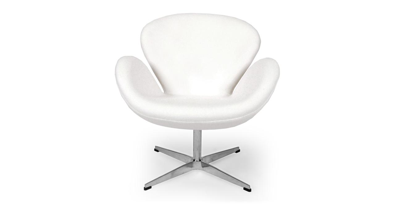 Kardiel Swan Chair, White Boucle Cashmere Wool
