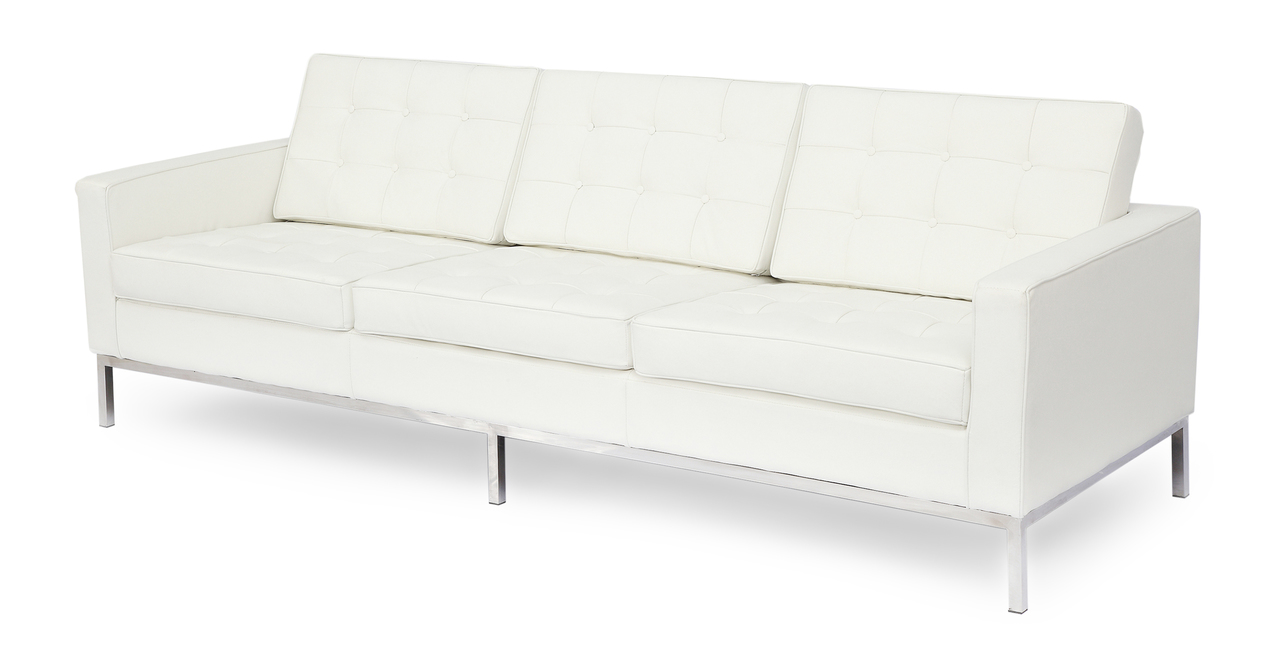 Florence Knoll Style Sofa 3 Seat Cream White Premium Premium Aniline Leather Ebay