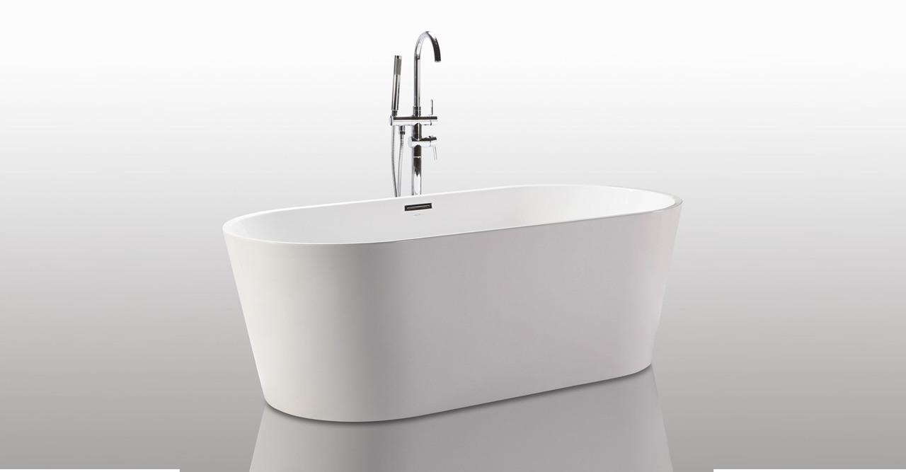 """HelixBath Agora Freestanding Acrylic Soaking Bathtub 59"""" ..."""
