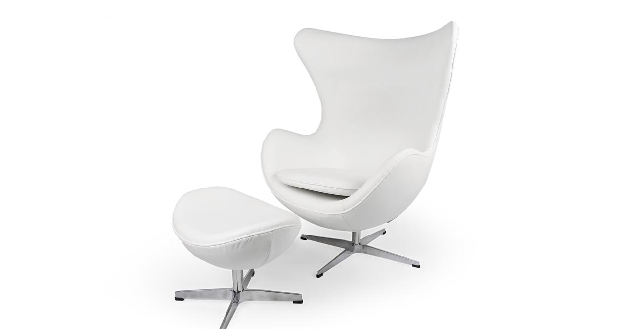 Kardiel Egg Chair & Ottoman, Cream White Aniline Leather