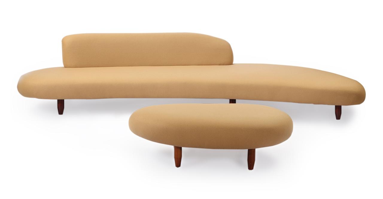 Kardiel Kidney Bean Mid-century Modern Sofa & Ottoman, La...