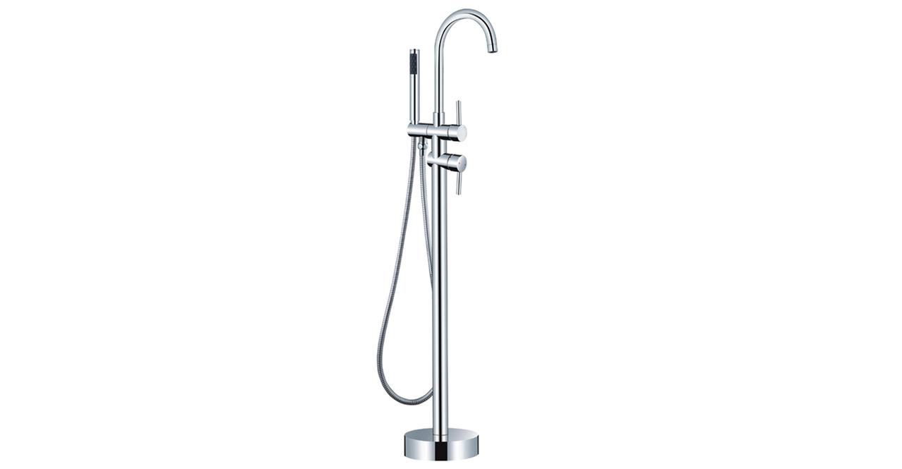 HelixBath LaCascata Gooseneck Freestanding Tub Faucet Chrome W Hand Shower
