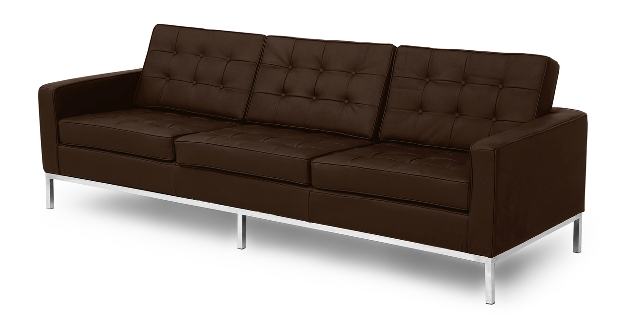 florence knoll style sofa 3 seat espresso genuine standard leather ebay. Black Bedroom Furniture Sets. Home Design Ideas