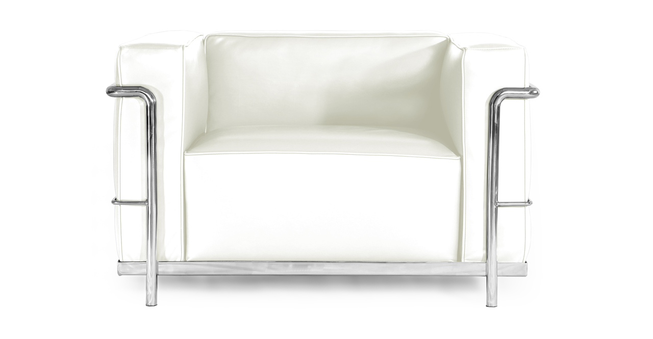 le corbusier style lc3 chair cream white aniline leather. Black Bedroom Furniture Sets. Home Design Ideas