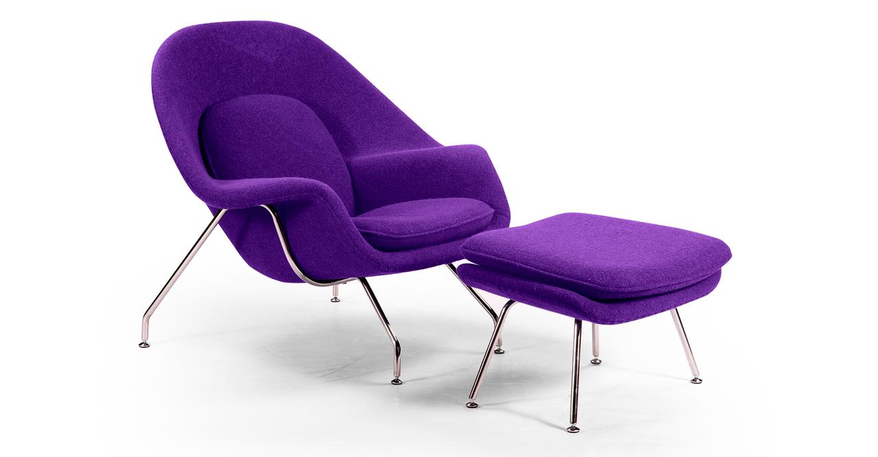 Kardiel Womb Chair & Ottoman, Purple Boucle Cashmere Wool