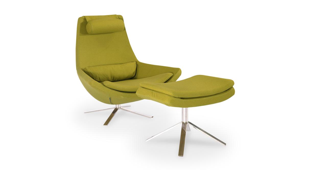 Retropolitan modern lounge chair ottoman deco moss cashmere wool ebay - Deco lounge grijs en beige ...