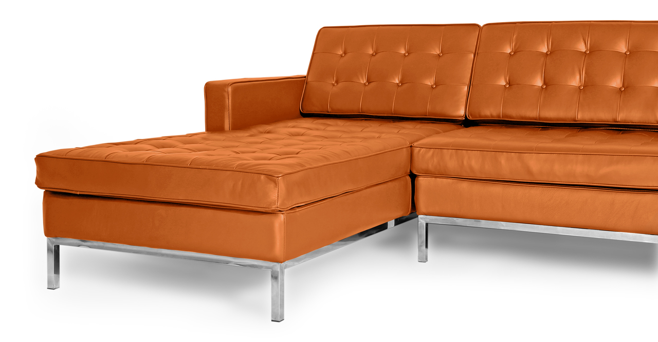 florence knoll style sofa sectional left caramel 100 premium leather ebay. Black Bedroom Furniture Sets. Home Design Ideas