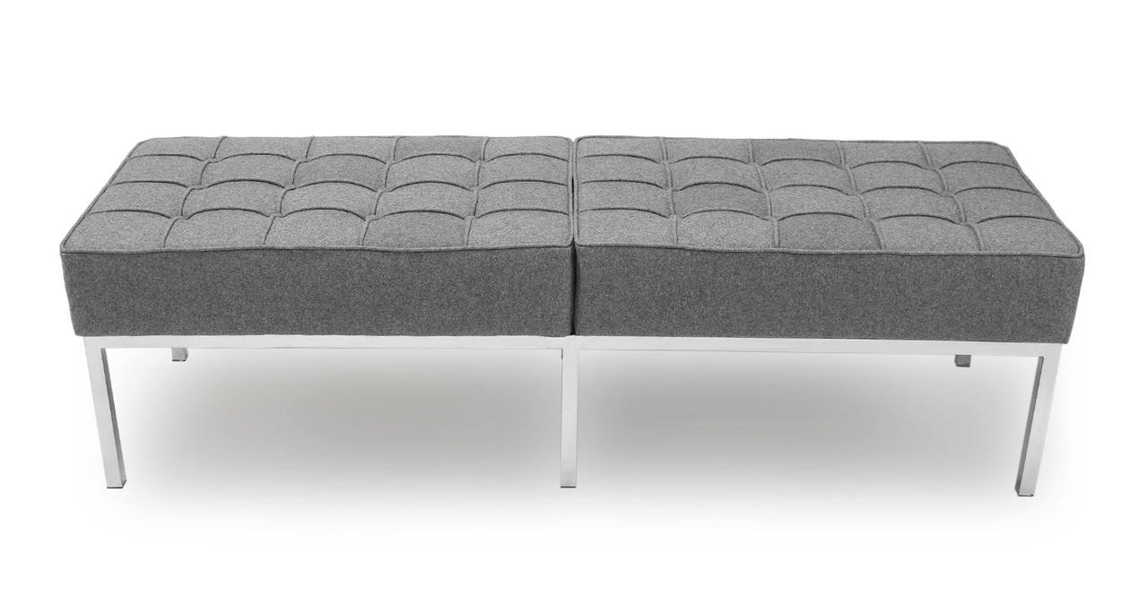 Kardiel Florence Knoll Style Bench 3 Seater, Cadet Grey C...