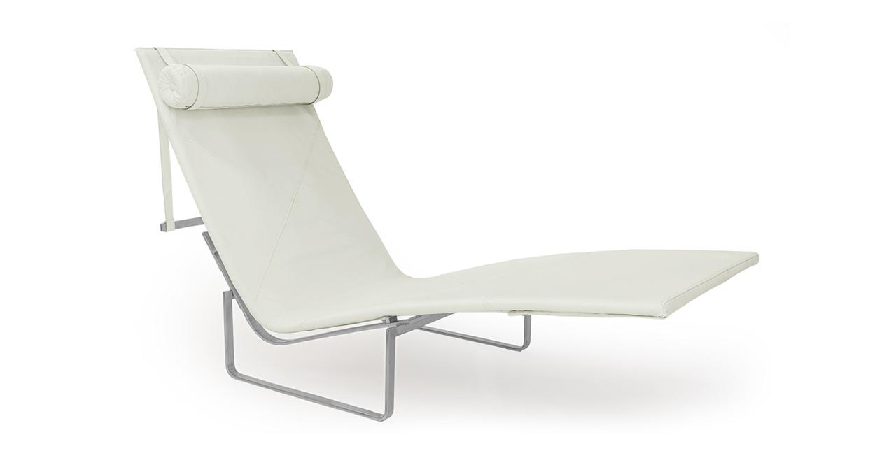 Kardiel PK24 Modern Chaise Lounge Chair, Arctic White Ani...