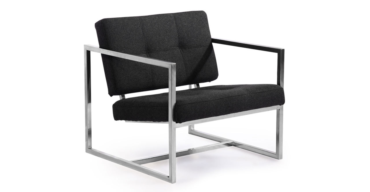 Kardiel Modern 1950 Cube Chair, Charcoal Cashmere Wool /S...