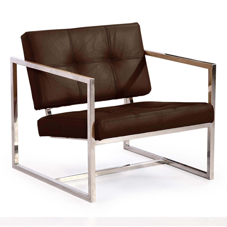 Kardiel Modern 1950 Cube Chair, Coco Brown Aniline Leathe...