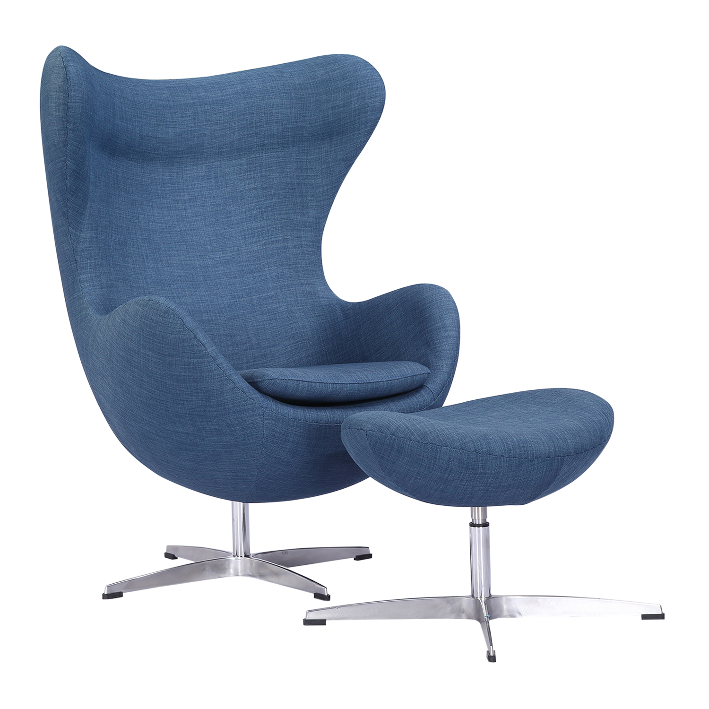 Kardiel Amoeba Chair & Ottoman, Blue Curacao Vintage Twill