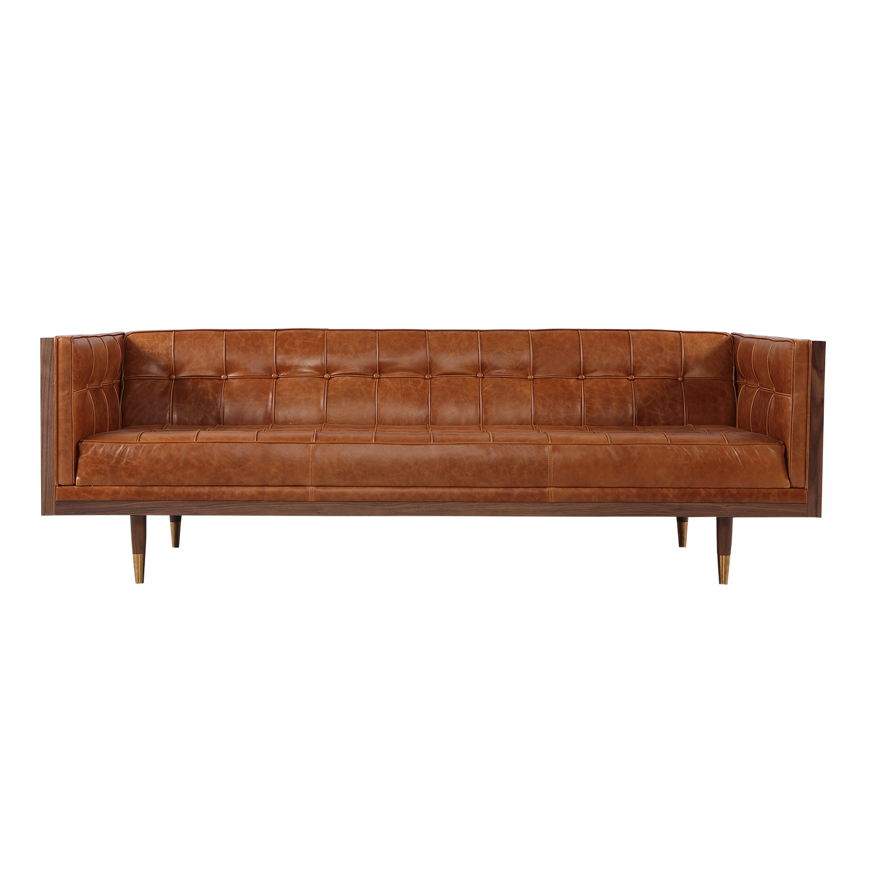 Kardiel Woodrow Midcentury Modern Box Sofa, Vintage Tan D...