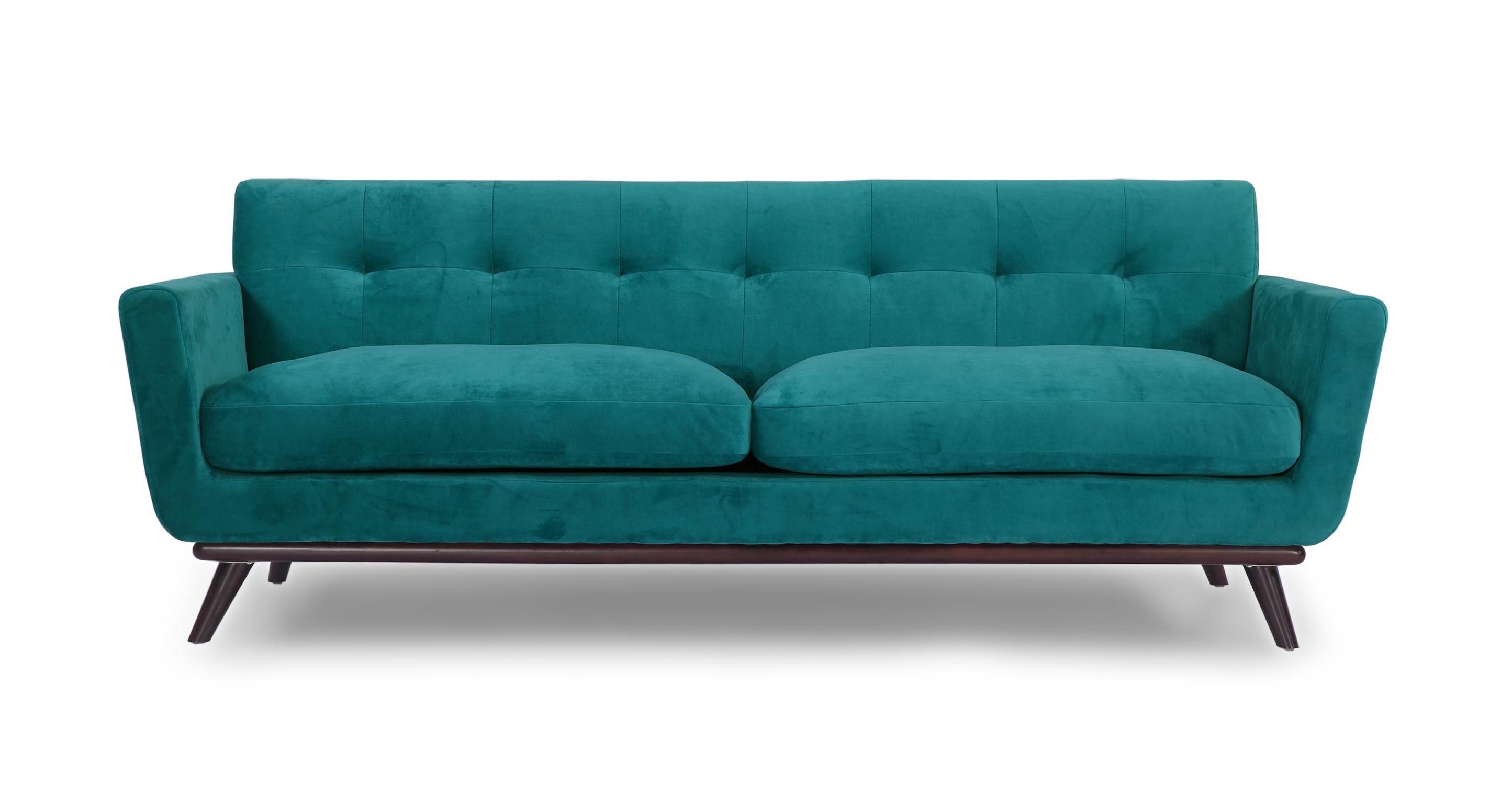 Kardiel Jackie Mid-Century Modern Classic Sofa, Peacock P...