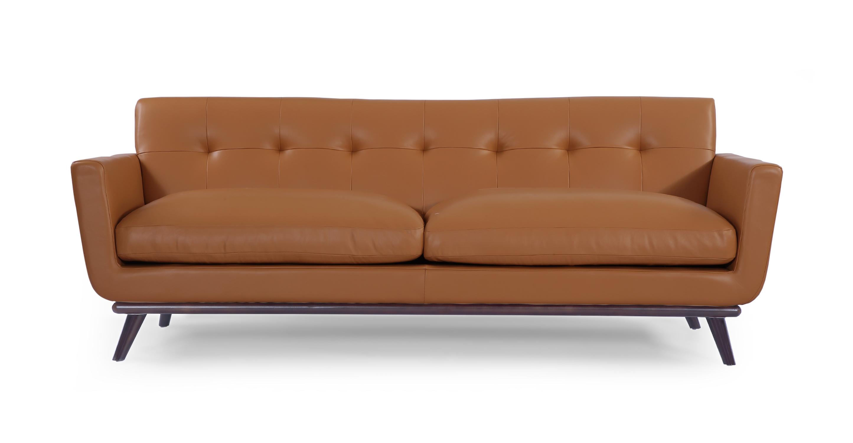 Jackie Mid Century Modern Classic Sofa Saddle Brown Aniline Leather EBay