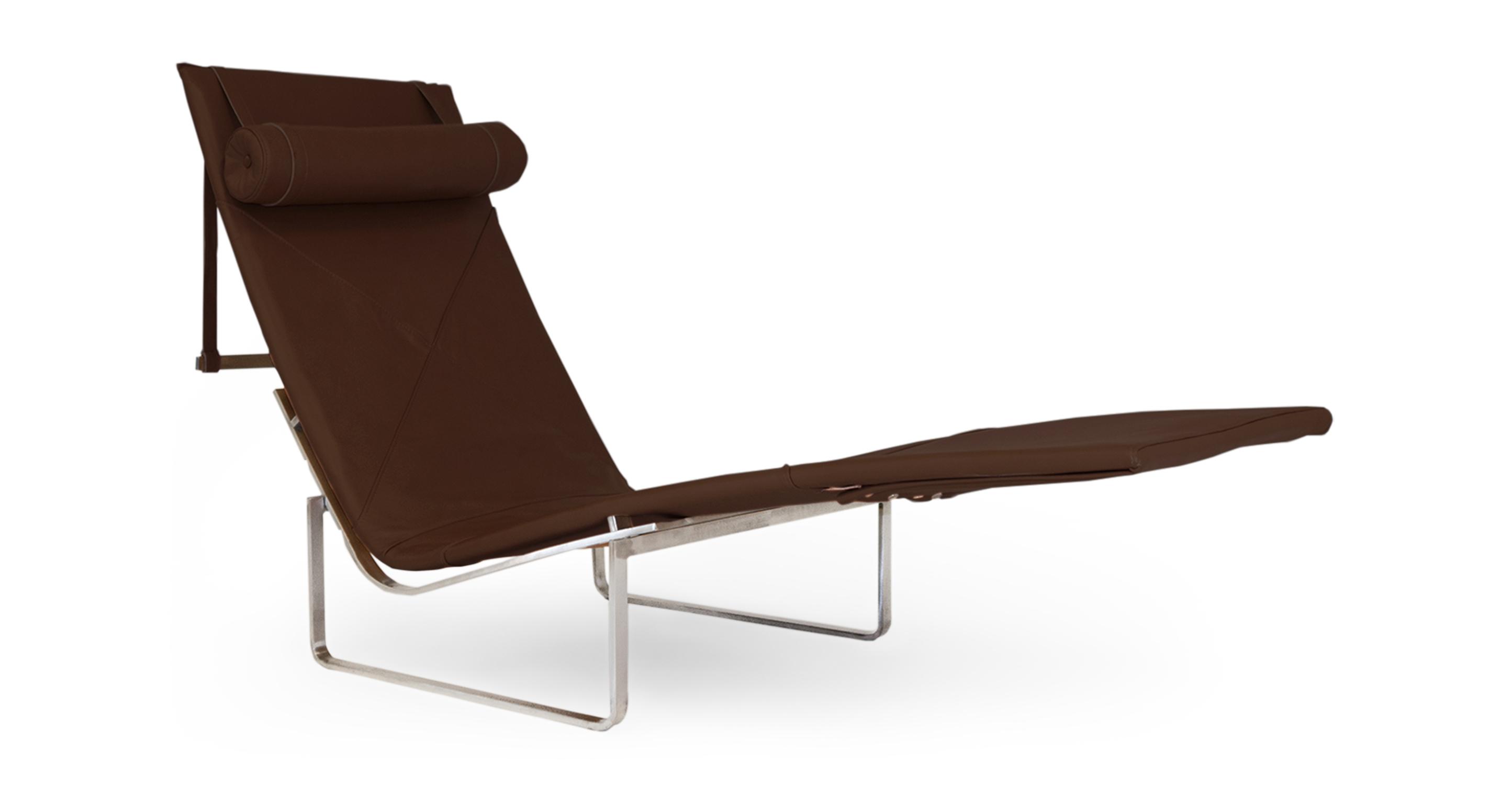Kardiel PK24 Modern Chaise Lounge Chair, Coco Brown Anili...