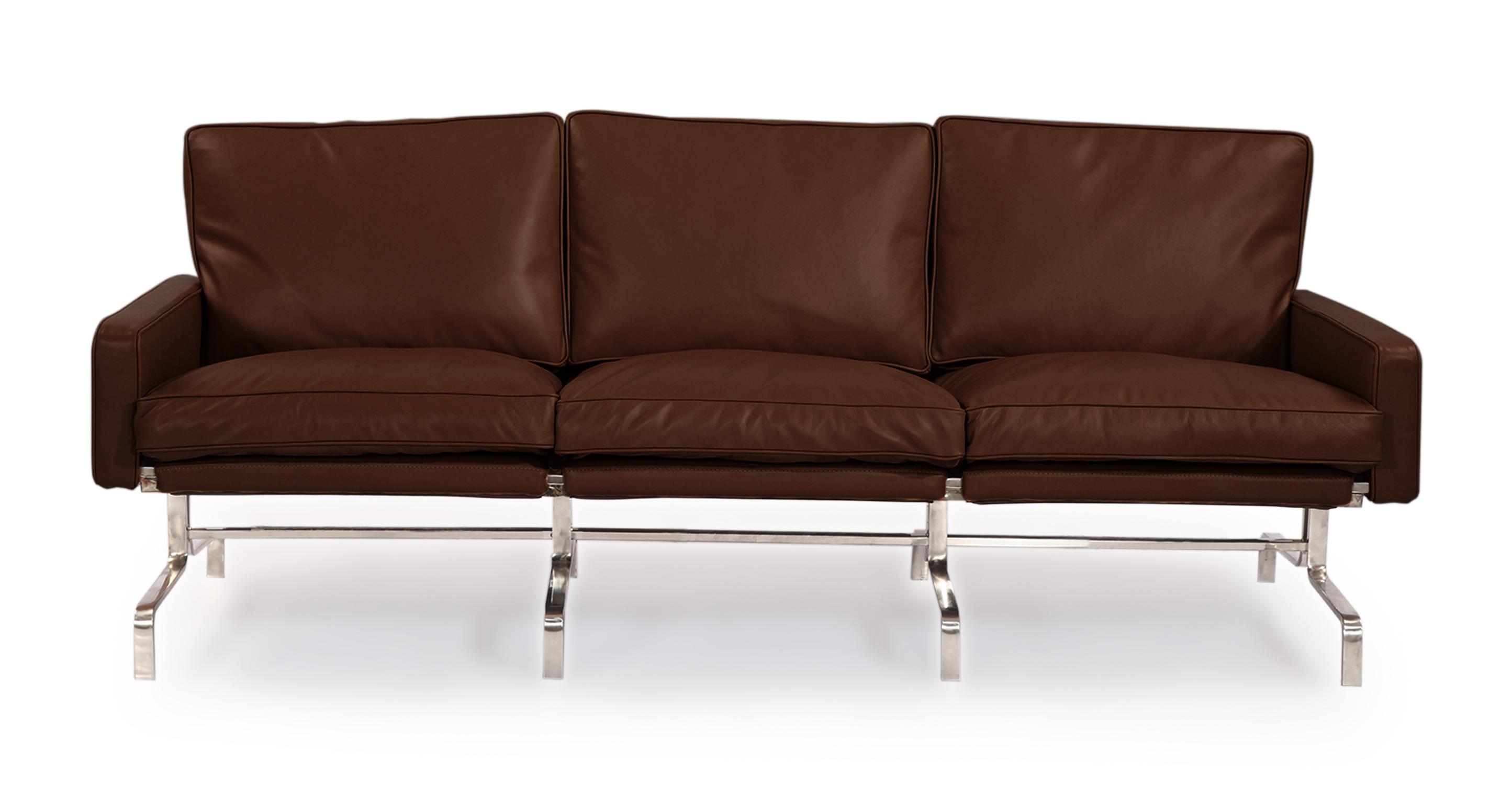 Kardiel PK31 Style Modern 3 Seat Sofa, Coco Brown Aniline...
