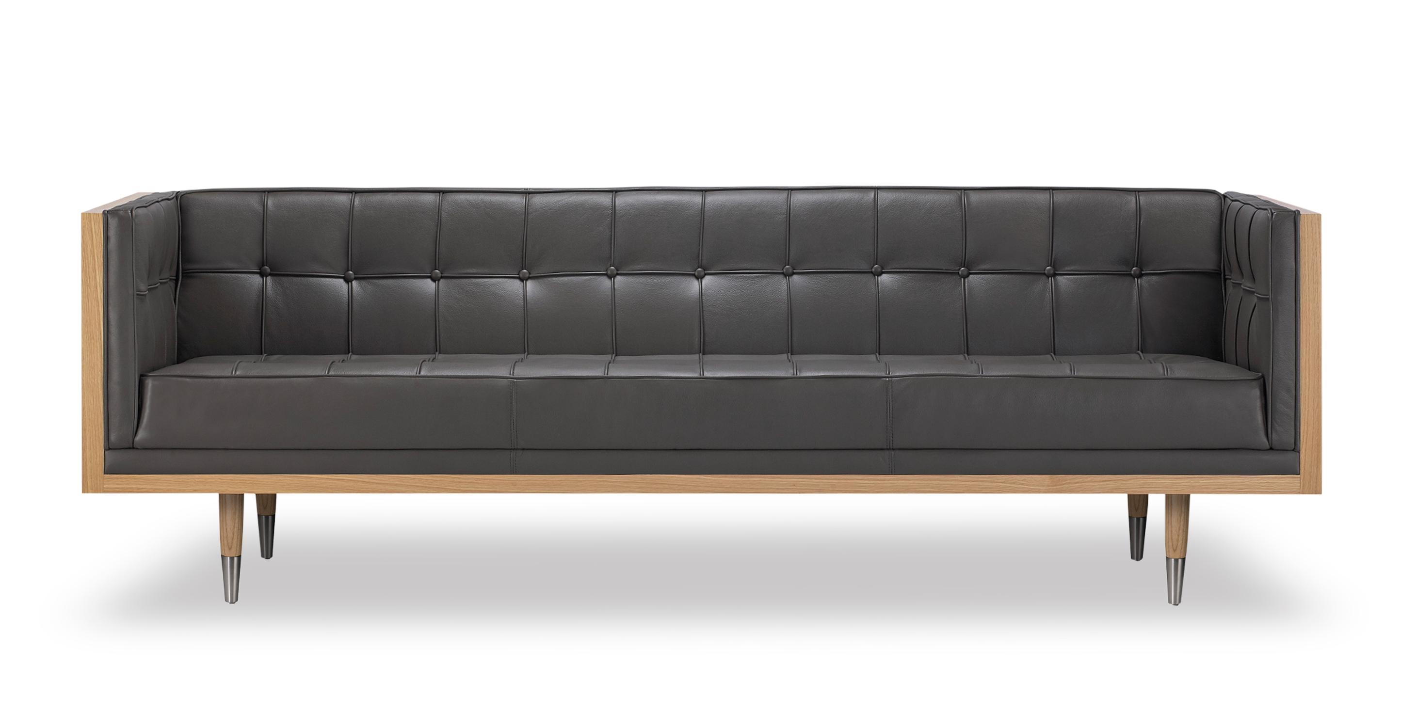 Kardiel Woodrow Midcentury Modern Box Sofa, Grey Aniline ...