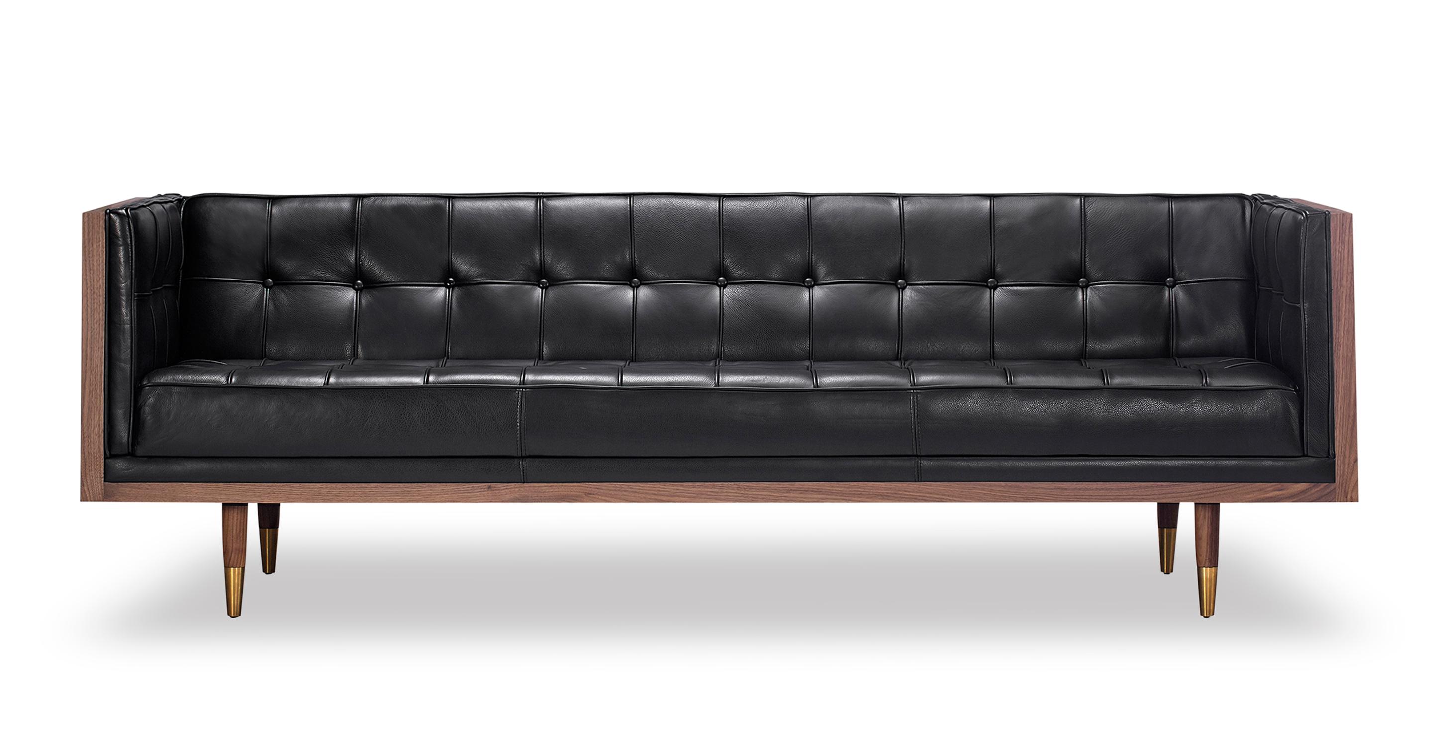 Kardiel Woodrow Midcentury Modern Box Sofa, Black Aniline...