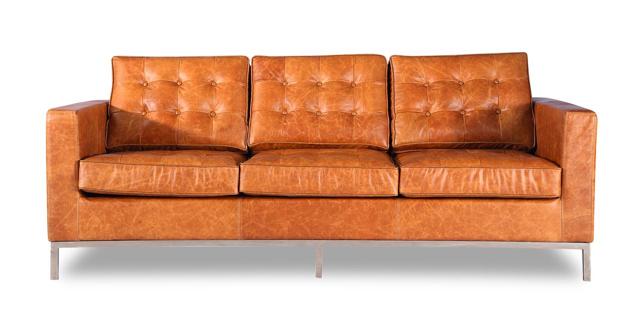 Florence knoll style sofa 3 seat vintage tan premium distressed leather ebay Vintage tan leather sofa