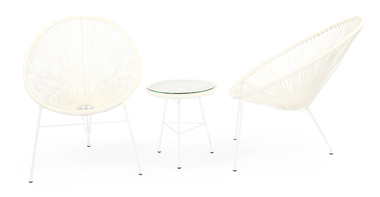 Kardiel Acapulco Chairs & Table, 3-pc Outdoor Set, White
