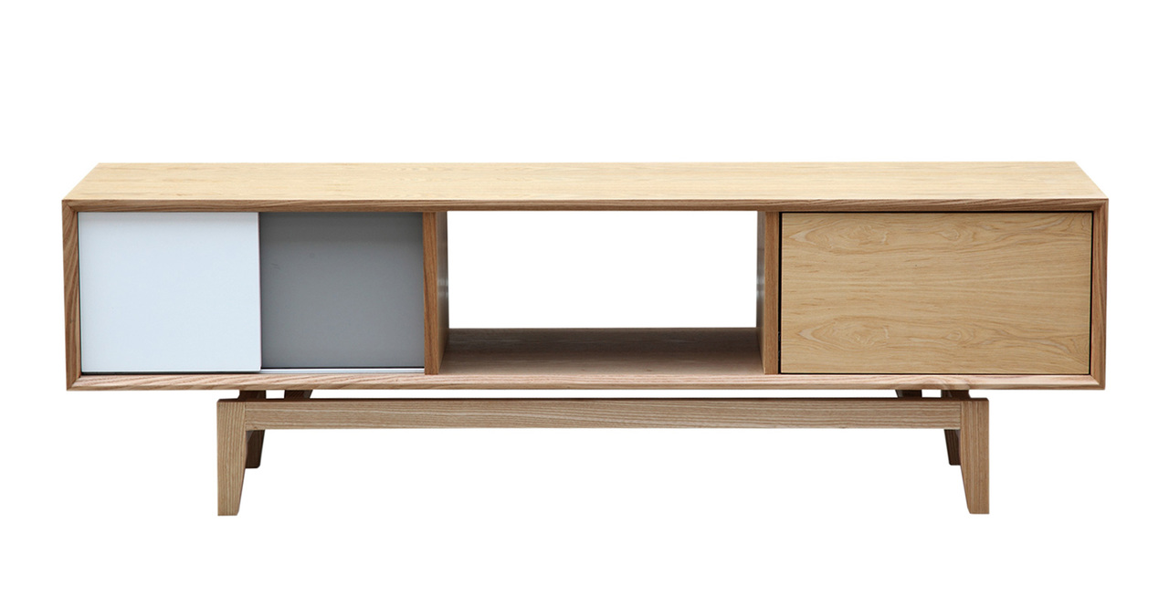 Kardiel Platform Modern Credenza /Media TV Cabinet, Natur...