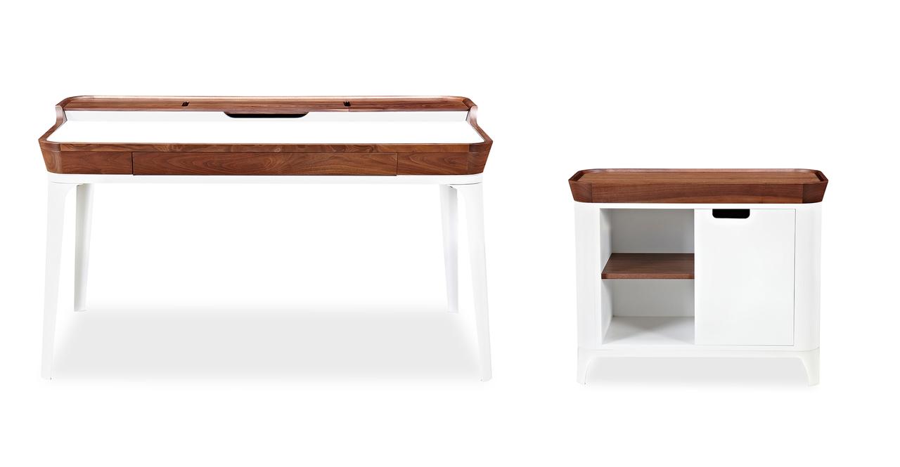 Kardiel Mid-century Modern Garbo Desk & Cabinet Set, Waln...