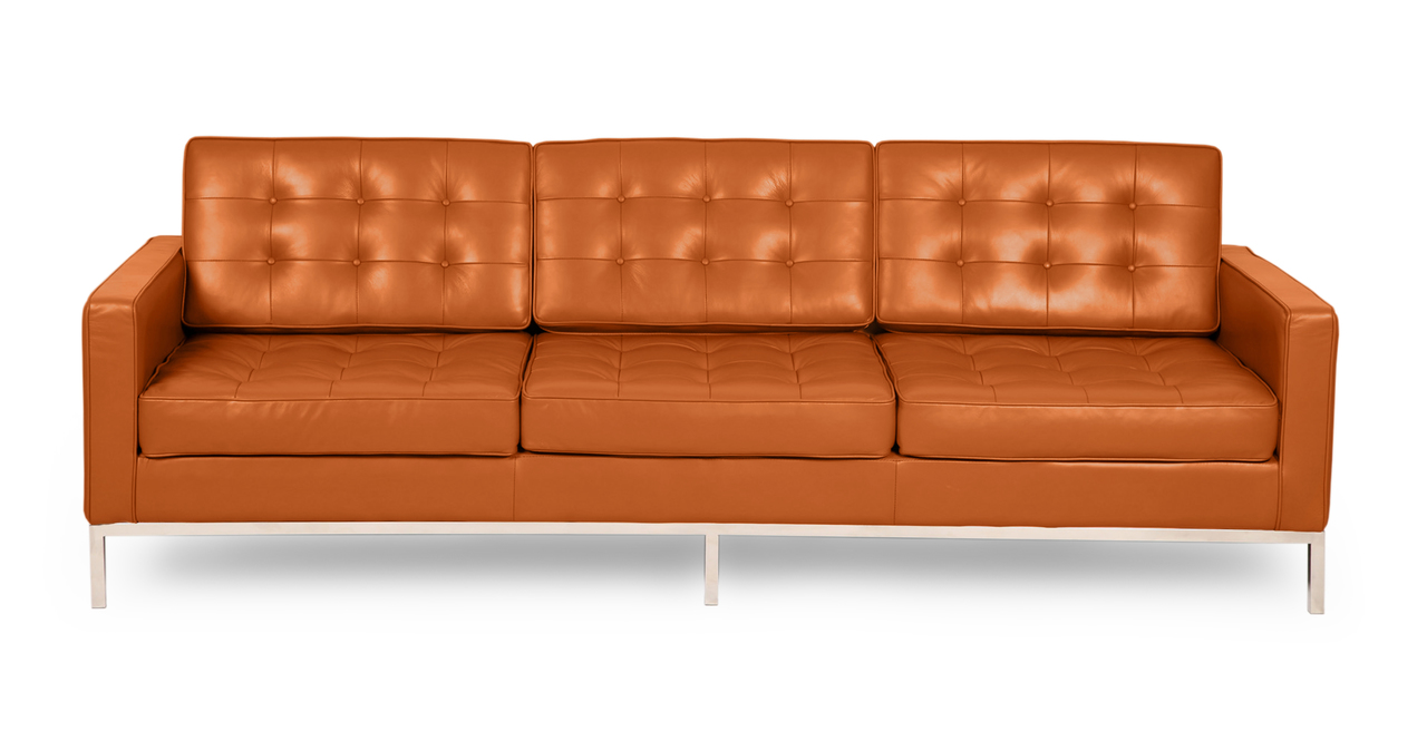 florence knoll style sofa 3 seat caramel premium aniline leather ebay. Black Bedroom Furniture Sets. Home Design Ideas