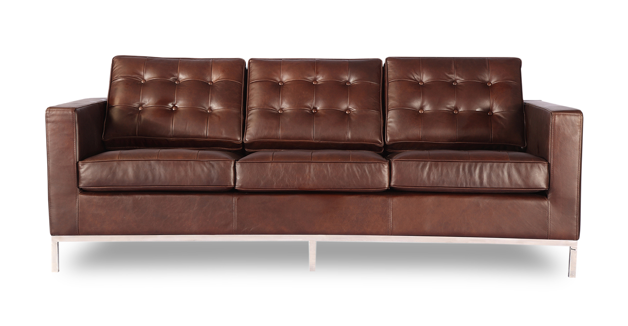 Kardiel Florence Knoll Style Sofa 3 Seat, Vintage Brown P...