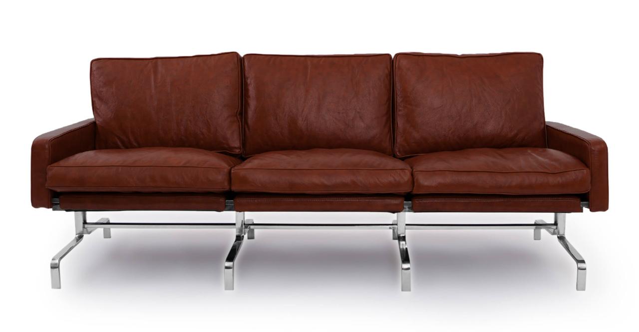 PK31 Style Modern 3 Seat Sofa Bordeaux Aniline Premium Leather EBay
