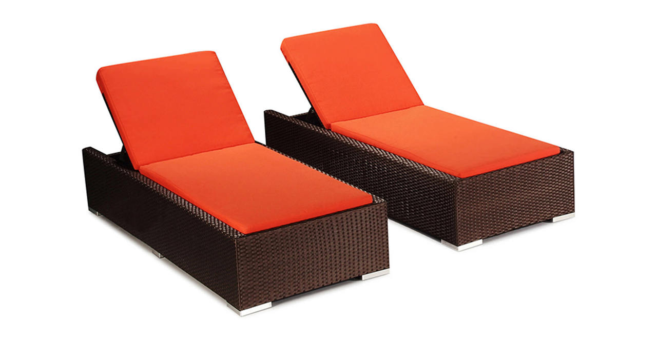 Aloha patio outdoor sunbed chaise lounge hanalei 2pc set for Chaise orange