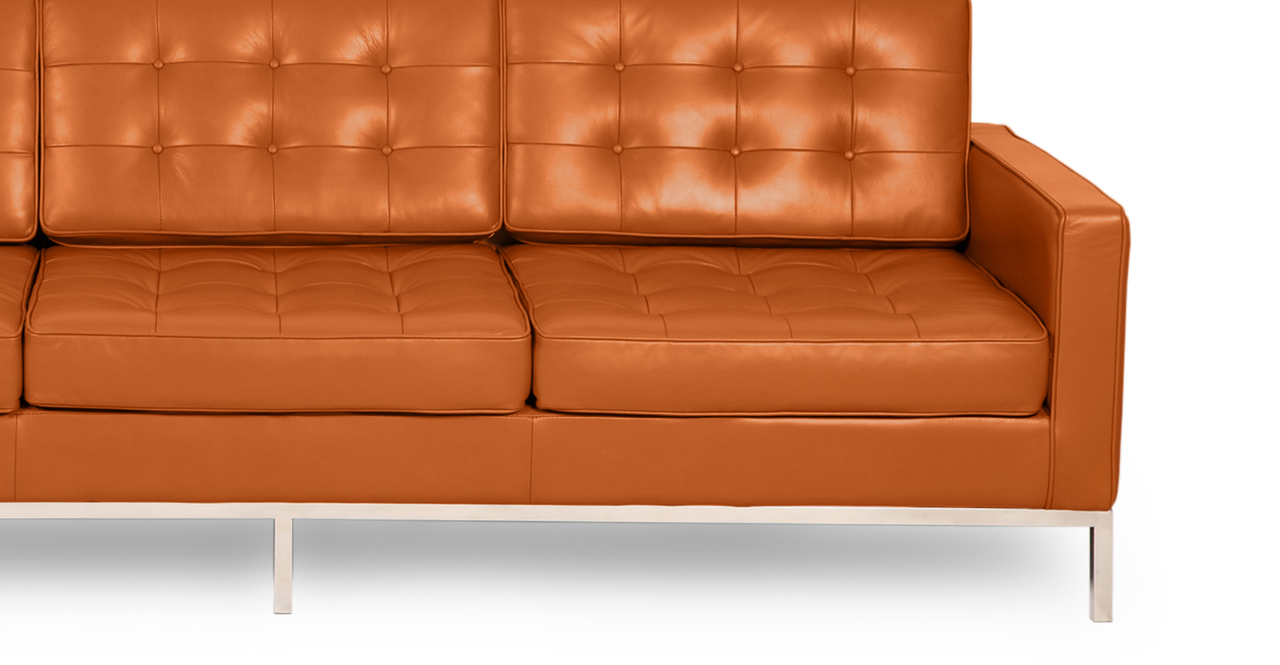Florence Knoll Style Sofa 3 Seat Caramel Premium Aniline Leather Ebay