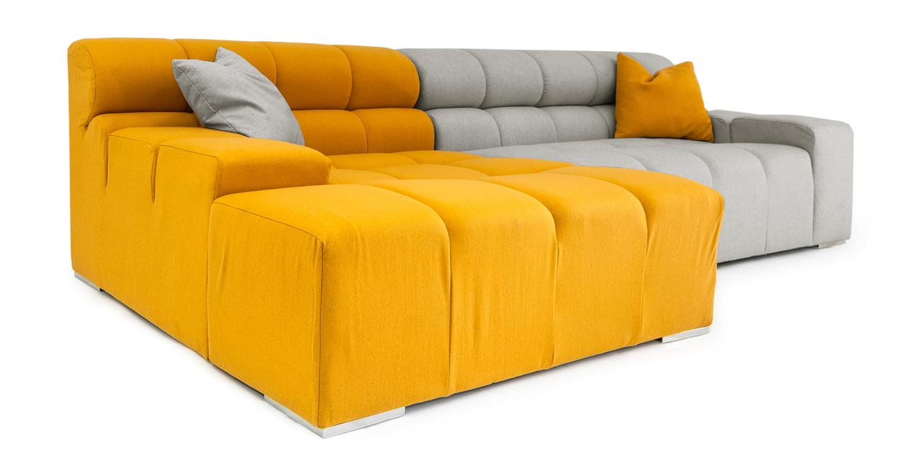 Cubix modern modular sofa sectional left sunrise heather for Modern modular sectional puzzle sofa
