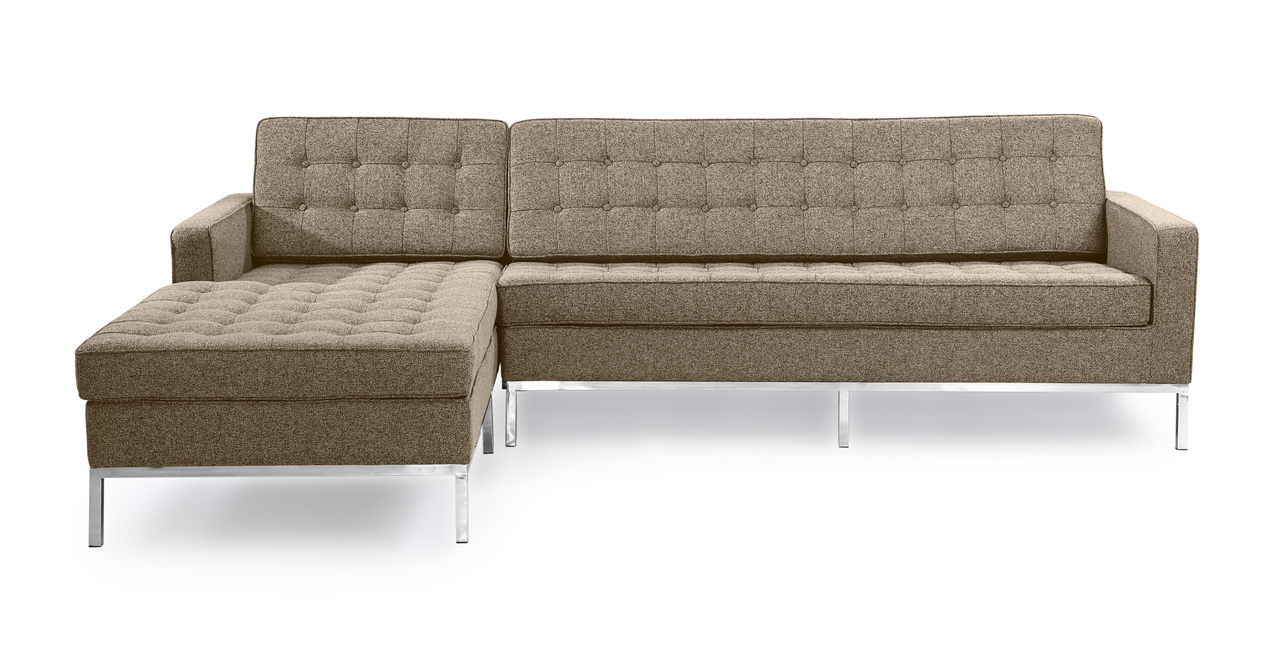 Kardiel Florence Knoll Style Sofa Sectional Left, Oatmeal...