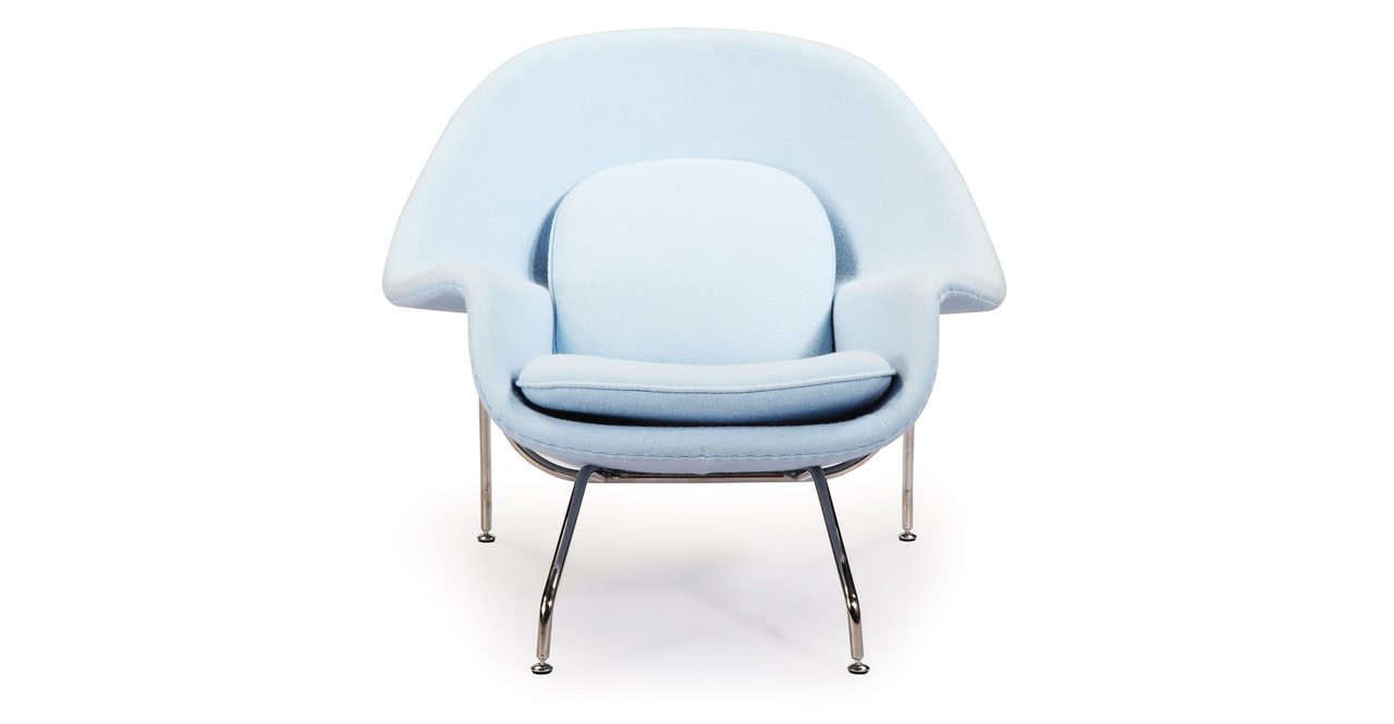 womb chair ottoman baby blue boucle cashmere wool ebay. Black Bedroom Furniture Sets. Home Design Ideas