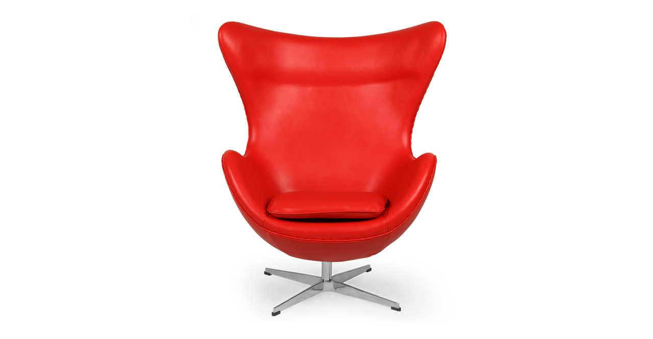 Kardiel Egg Chair, Red Aniline Leather