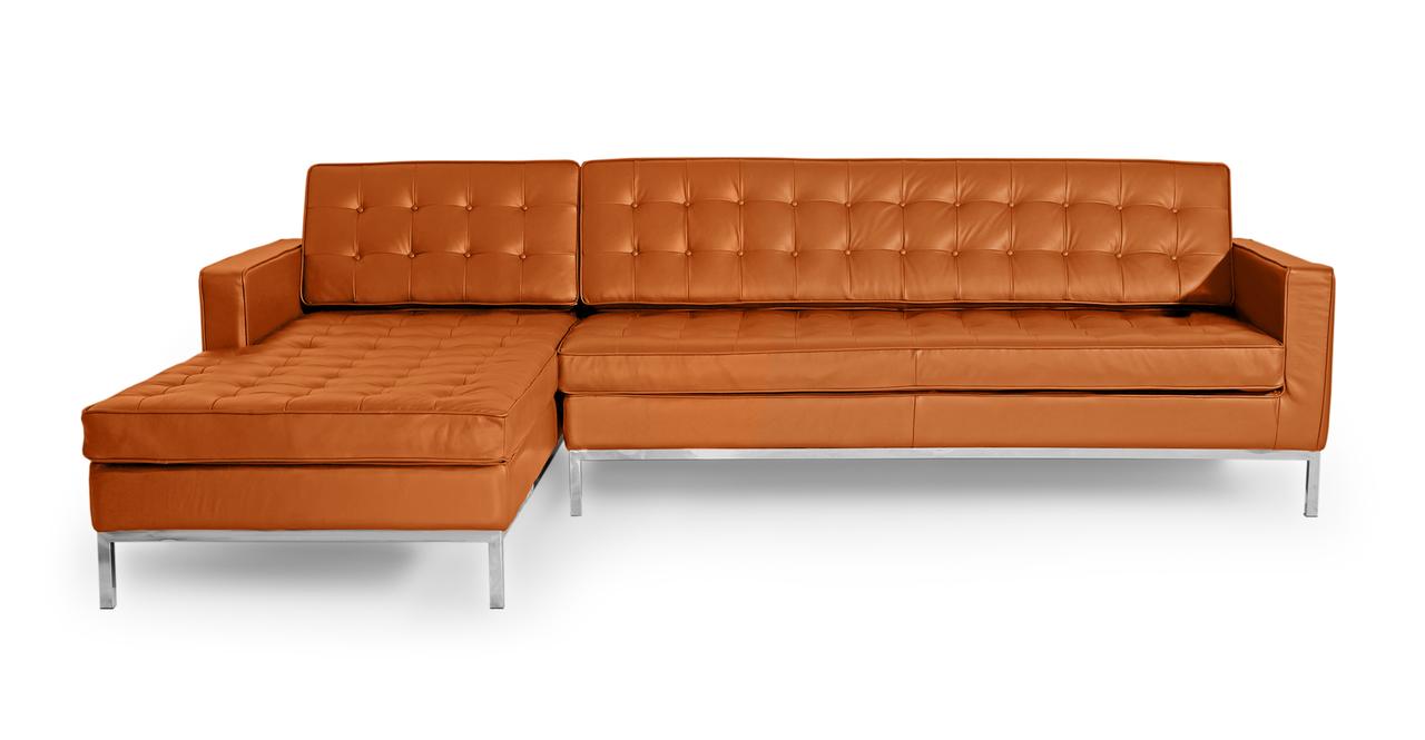 Kardiel Florence Knoll Style Sofa Sectional Left, Caramel...