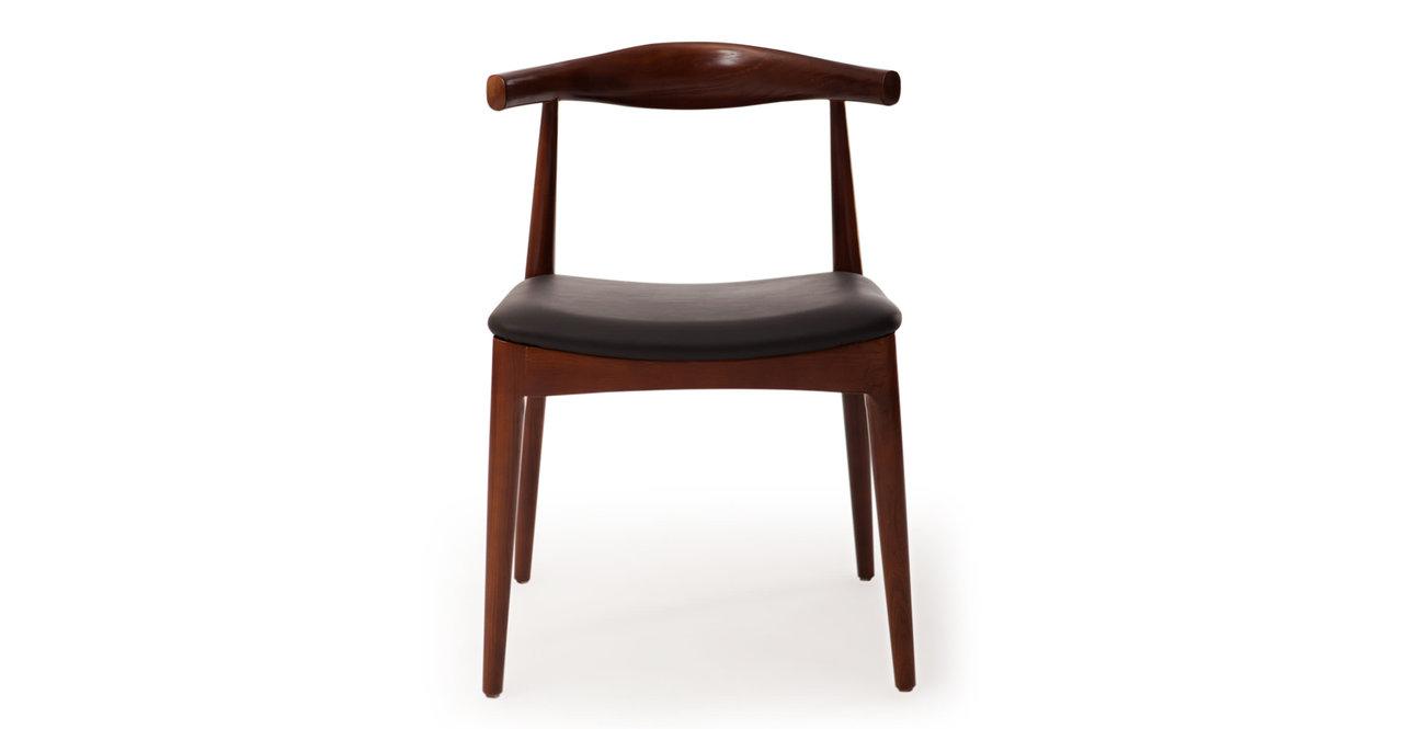Wegner Style Elbow Dining Chair Black Italian Leather Ash