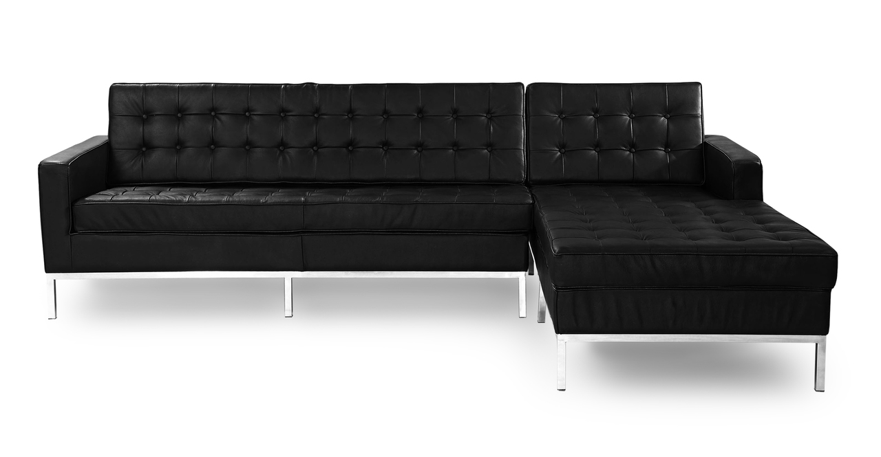 florence knoll style sofa sectional right black 100 genuine leather ebay. Black Bedroom Furniture Sets. Home Design Ideas
