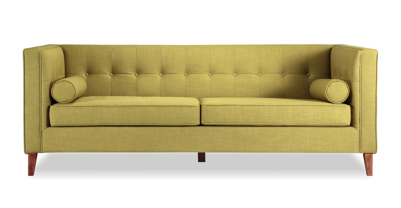 Jefferson Mid Century Modern Sofa Atomic Moss Twill Wood Legs EBay