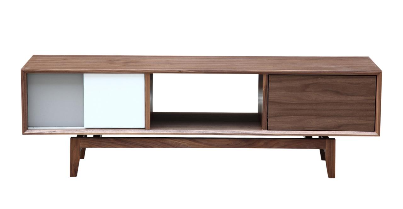 Kardiel Platform Modern Credenza /Media TV Cabinet, Walnu...
