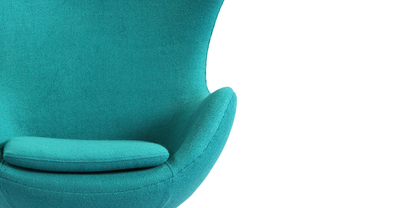 Egg Chair Turquoise Boucle Cashmere Wool