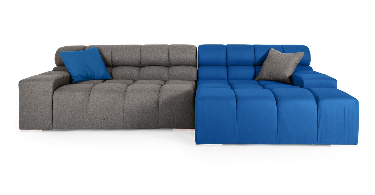 Cubix Modern Modular Sofa Sectional Right, Sapphire/Cadet...